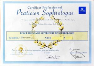 Diplôme de Sophrologie attestant la fiabilité du service de Sophrologie
